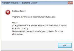 iTunes R6034 エラー