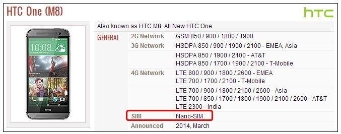 HTC one M8 SIMカード