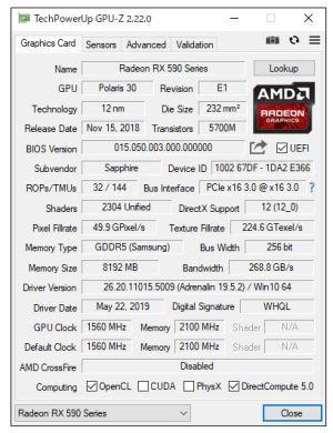GPU-Z RX590
